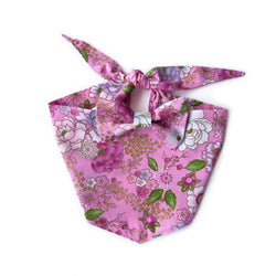 Pink Japanese Floral Bow Tie Dog Bandana