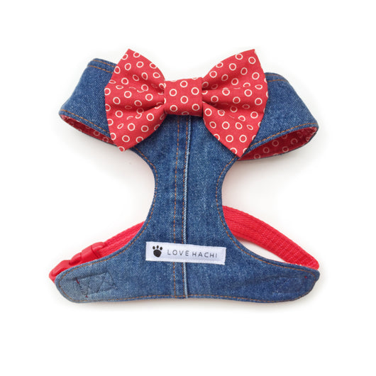 Retro Red Polka Dot Bow Tie Denim Dog Harness