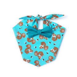 Squirrel Aqua Bow Tie Dog Bandana