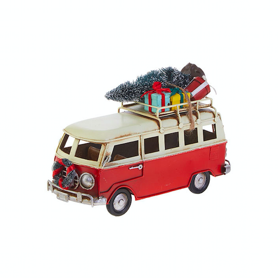 "6.75"" Red Bus Ornament"