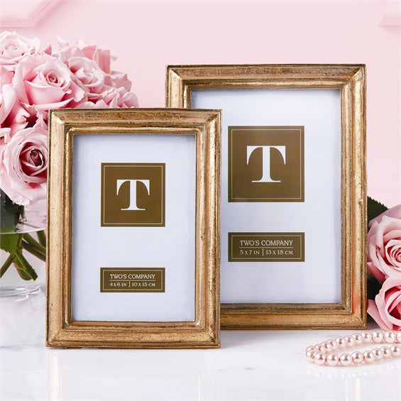 Set of 2 Simple Gold Leaf Photo Frames