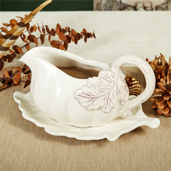 Pumpkin Gravy Boat with Leaf Plate