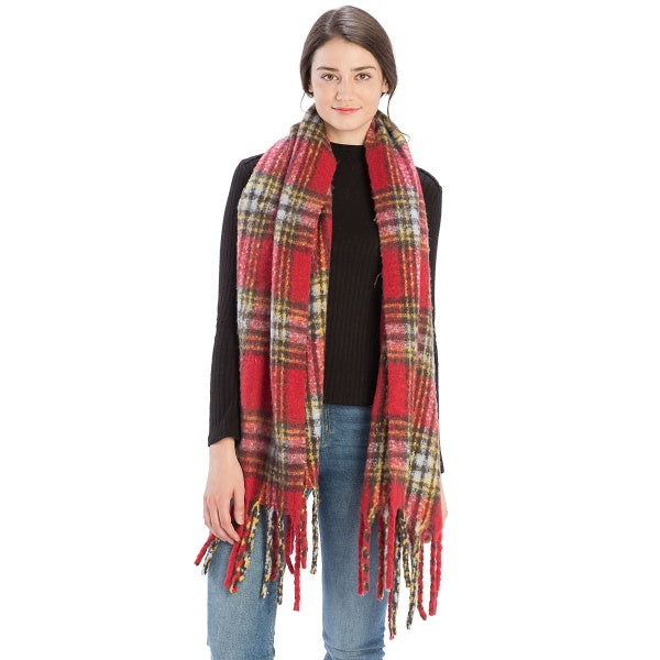 Red Bulky Plaid Pattern Scarf