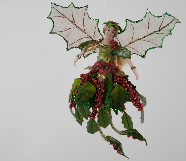 Holly Wing Fairy Ornament