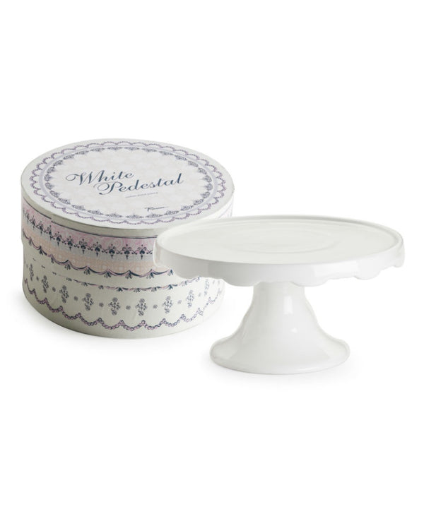 White Scallop Edge Pedestal Medium