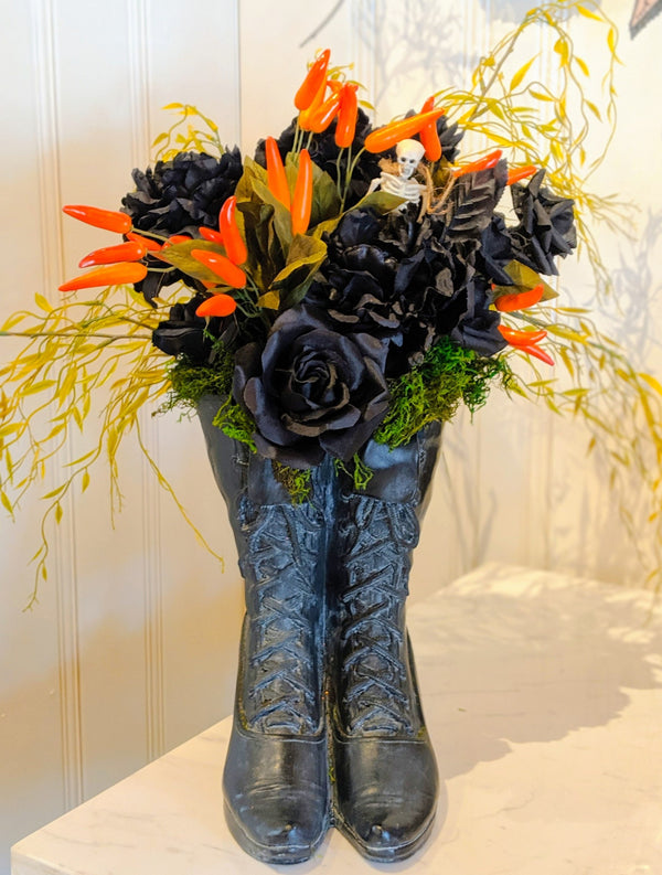 Witching Hour Boot Floral Arrangement