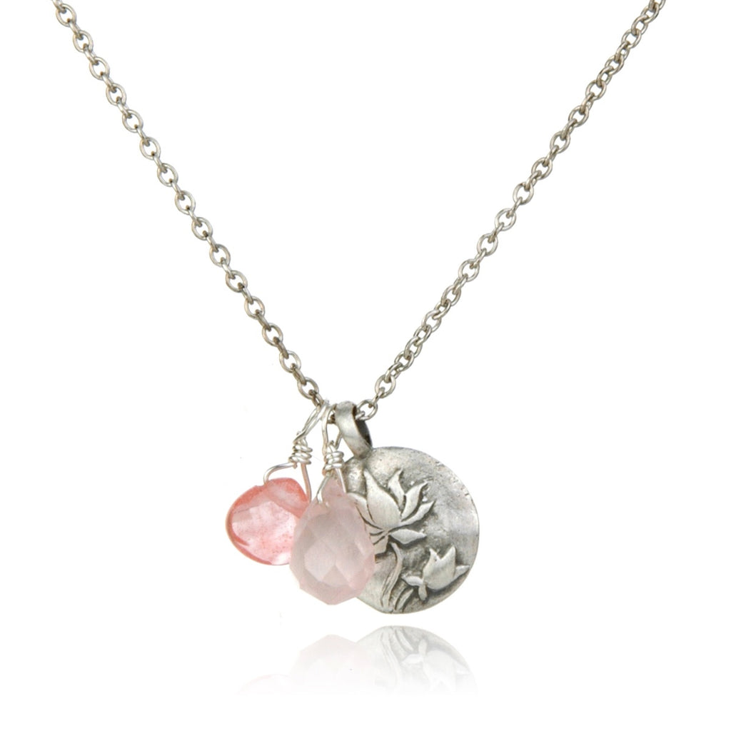 New Beginnings Silver Lotus with Rose Quartz Stones Necklace