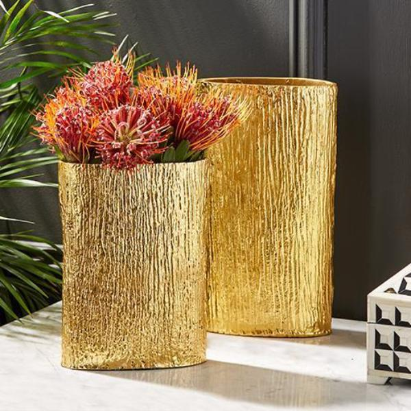 Golden Textured Tree Vases Vases