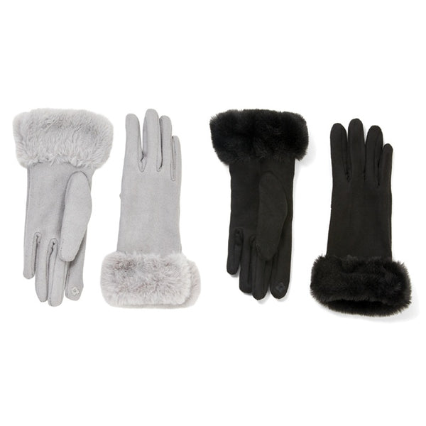 Faux Fur Trim Suede Gloves