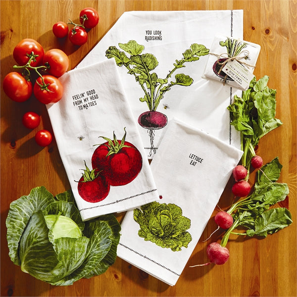 Farm To Table Dishtowel In Ceramic Basket