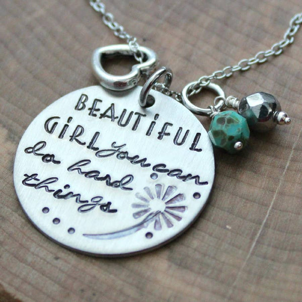 Beautiful Girl Quote Necklace