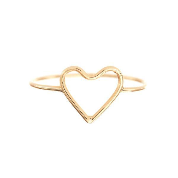 Silhouette Heart 14K Y/G Ring