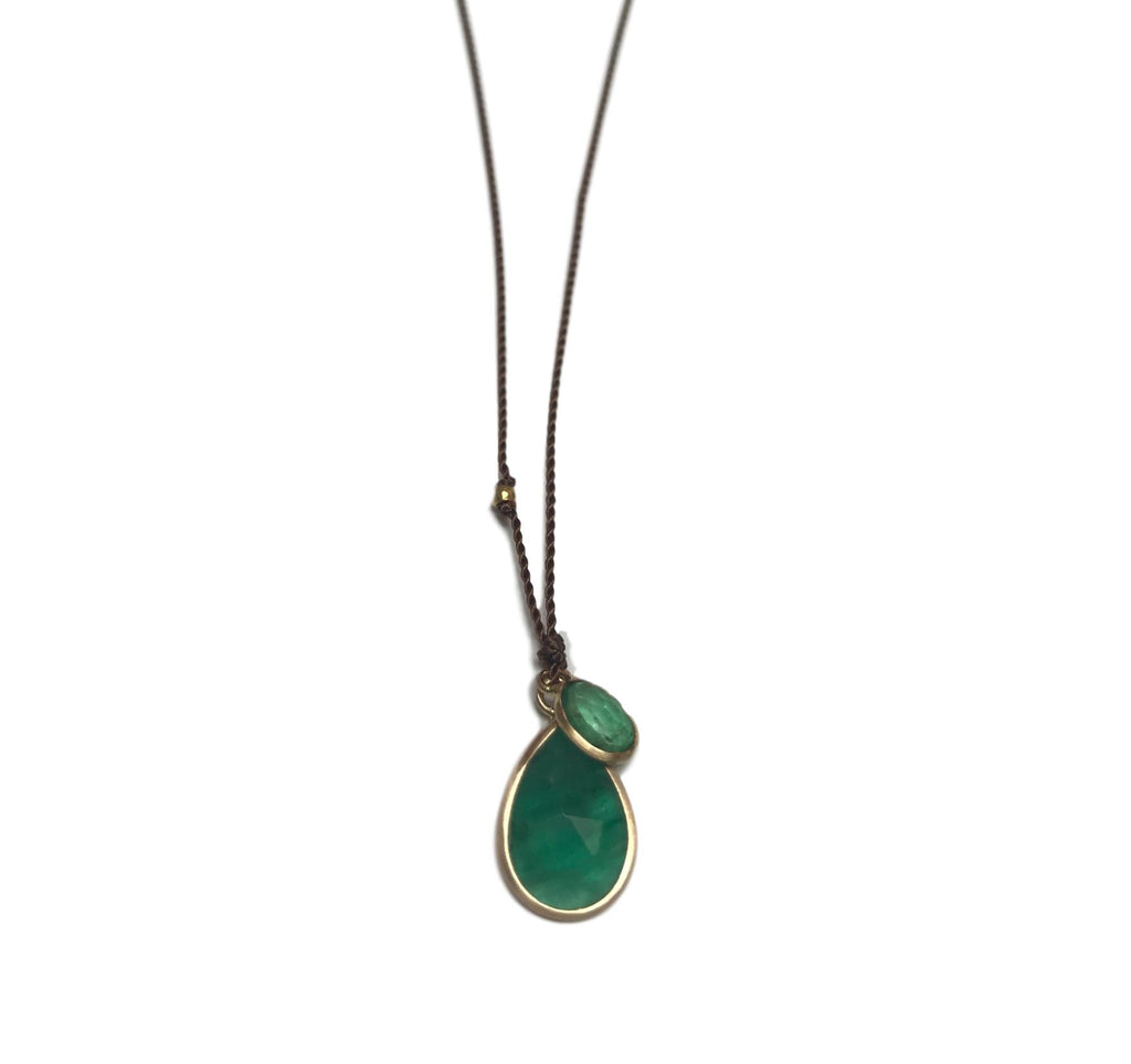 Double Tiered Emerald Teardrop  & Charm