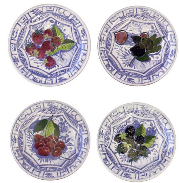 Gien Canape/ Cake Plates, Fruits & Blue Pattern