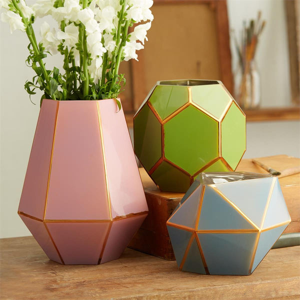 Golden Edge Geometric Vases