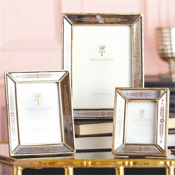 Set of 3 Gold Leaf Mirrored Photo Frames