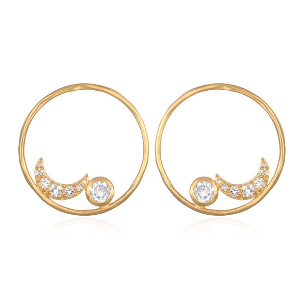 Moon White Topaz Hoop Earring