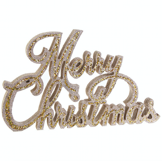 Merry Christmas Glittered Sign