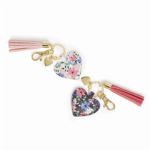 Floral Heart Keyring with Tassel