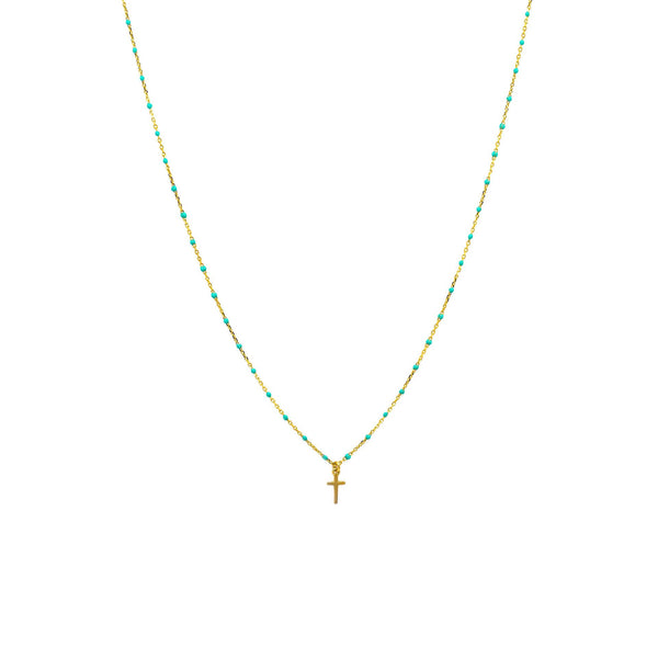 Gold Vermeil Beaded Enamel Necklace with Cross
