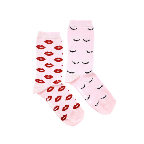 Lips and Winks Crew Mismatched Socks