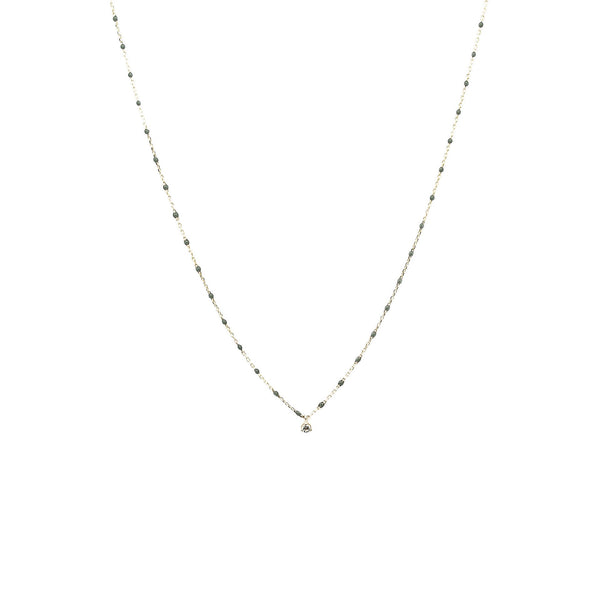 Sterling Silver Enamel Beaded Necklace with CZ