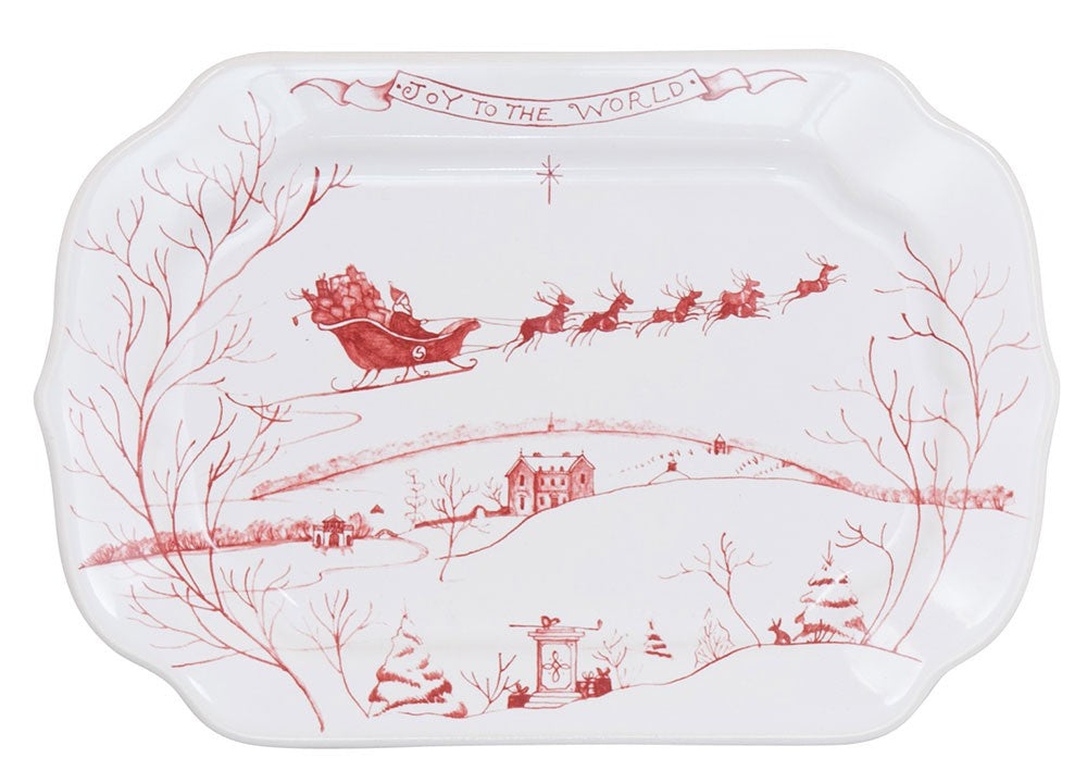 Country Estate Winter Frolic Ruby Gift Tray Joy to the World
