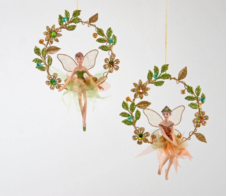 Jewel Fairy Wreath Ornament A/2