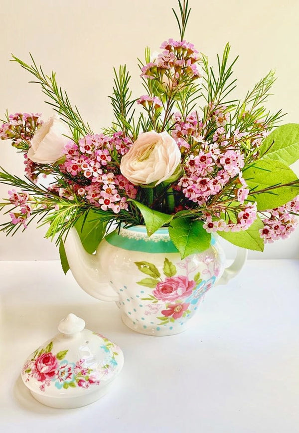 Polka Dot Teapot Floral Arrangement