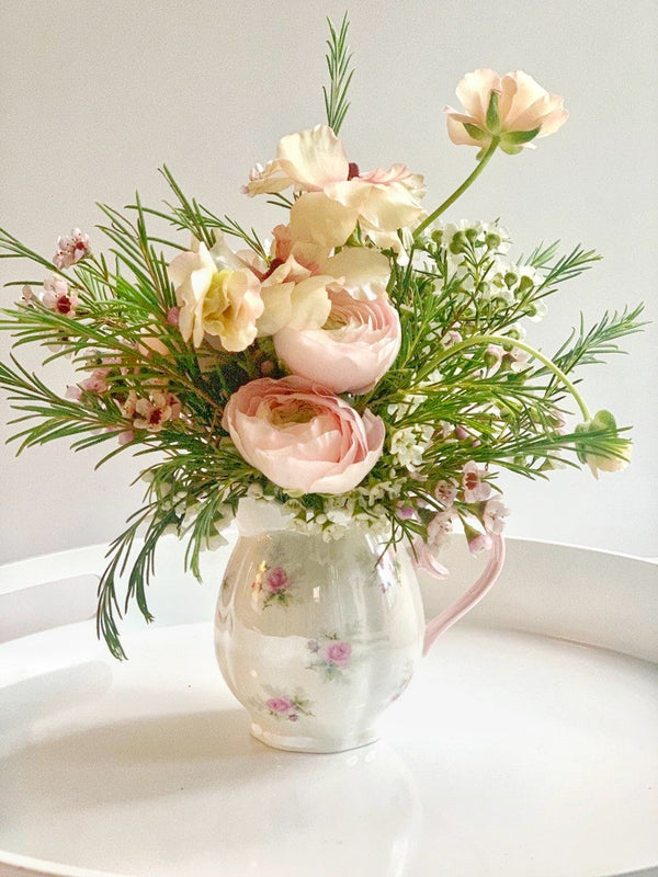 Tiny Irridescent Creamer Floral Arrangement