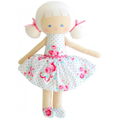 Alimrose Audrey Doll-Bows & Roses Blue 10 in.