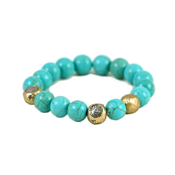 Tat2 Designs Gold Cera Turquoise Stretch Bracelet