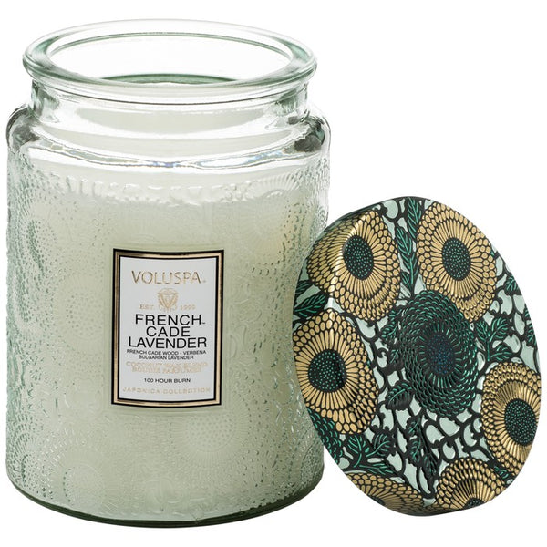 French Cade Lavender Large Embossed Glass Jar Candle