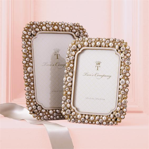 Timeless Set of 2 Crystal & Pearl Photo Frames