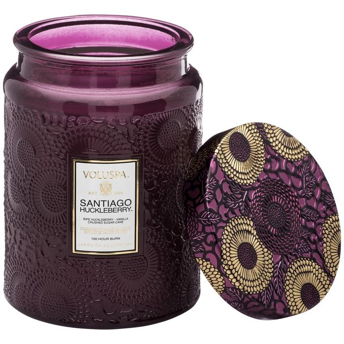 Santiago Huckleberry Large Embossed Glass Jar Candle