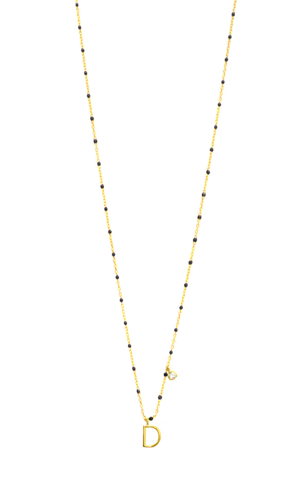 Gold Vermeil Black Enamel Initial Necklace