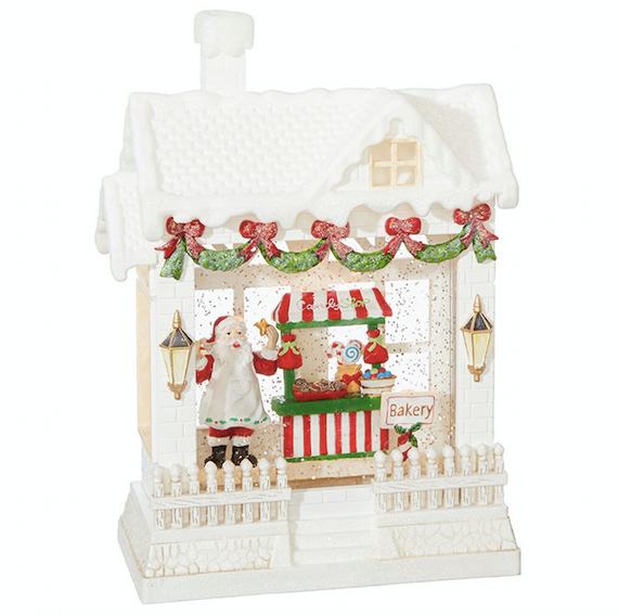 "10"" Baking Santa Lighted Water House"