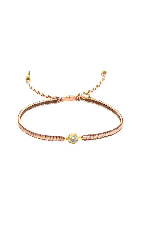 Braided Gold/Clear Crystal Bracelet