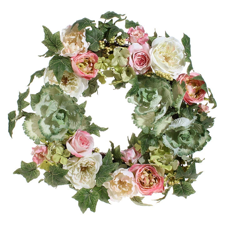 "24"" Cabbage Floral Wreath"