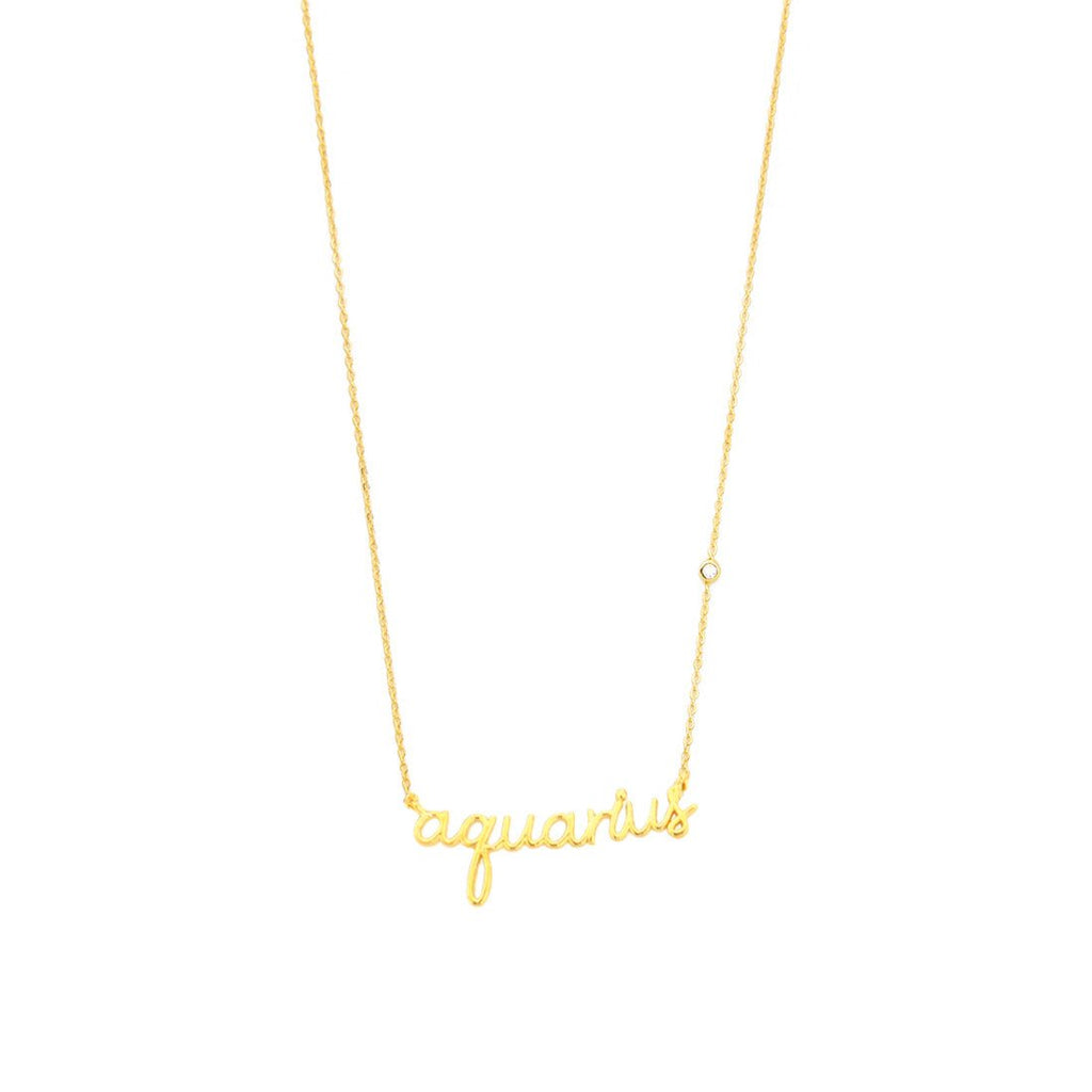 Zodiac Name Plate Necklace