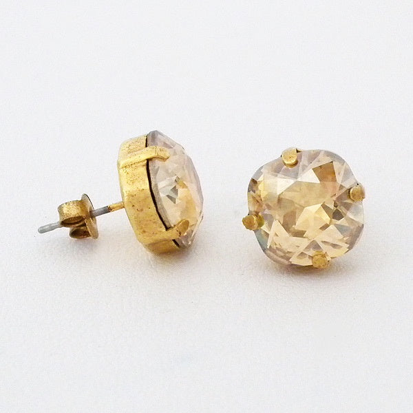 Gold Tone Post Crystal Earrings