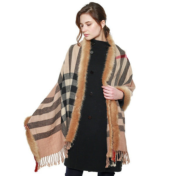 Plaid Fringed Scarf W/ Faux Fur Trim