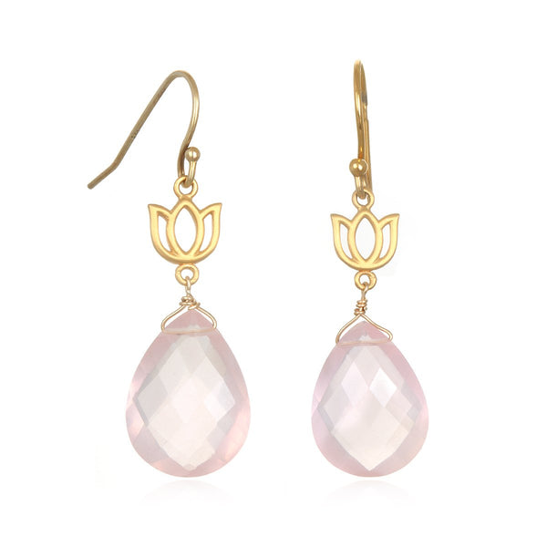 Lotus Rose Quartz Drop Earring