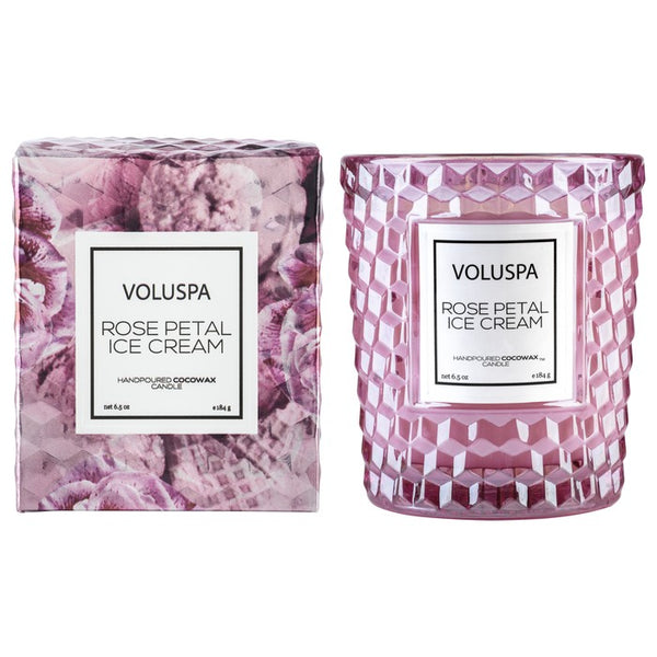 Rose Petal Ice Cream Classic Candle In Textured Glass