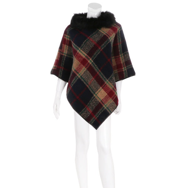 Plaid Poncho W/ Fur Collar