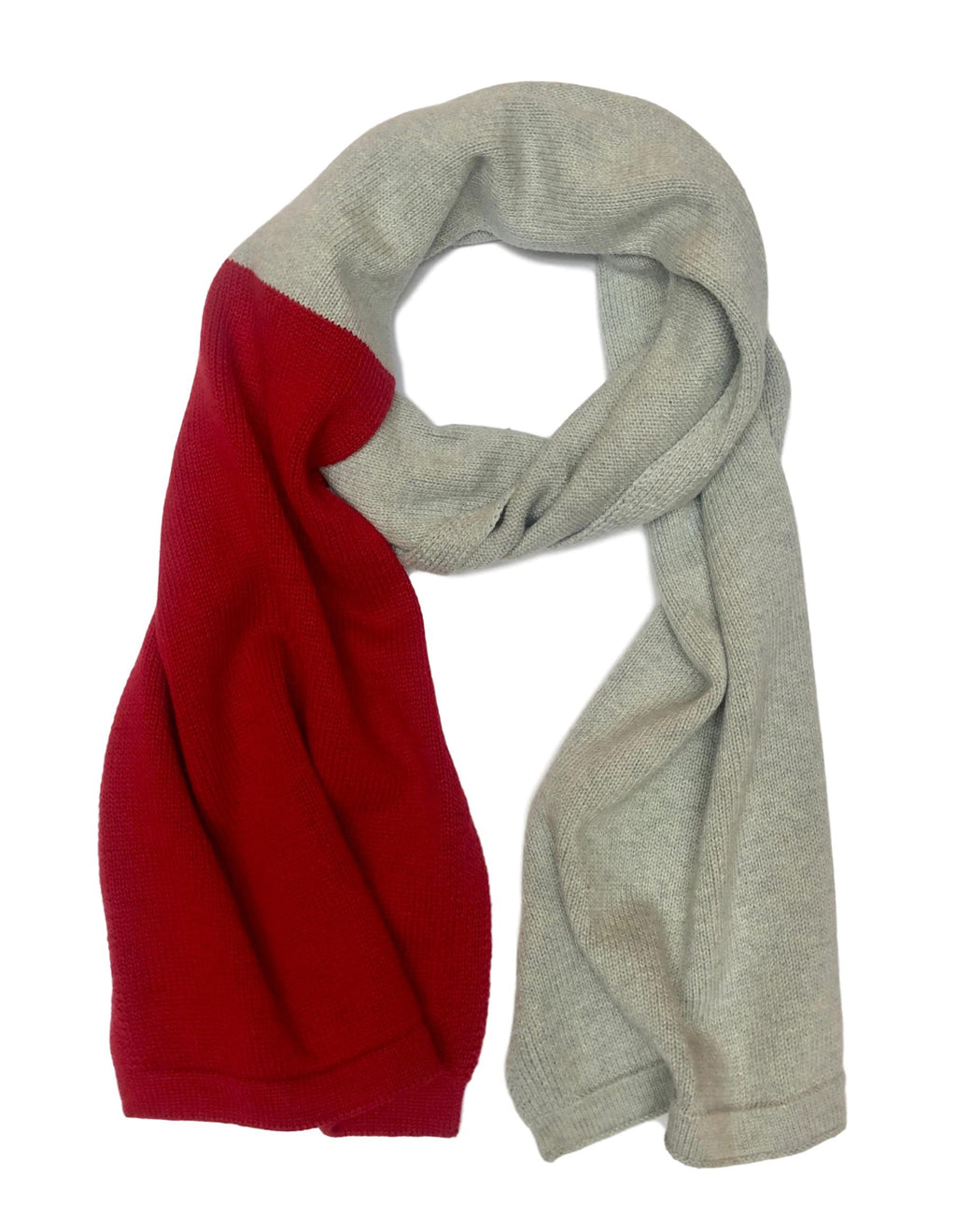 Grey Scarf with Red Color Block
