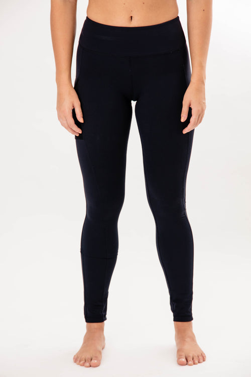 female black full-length leggings with phone pocket