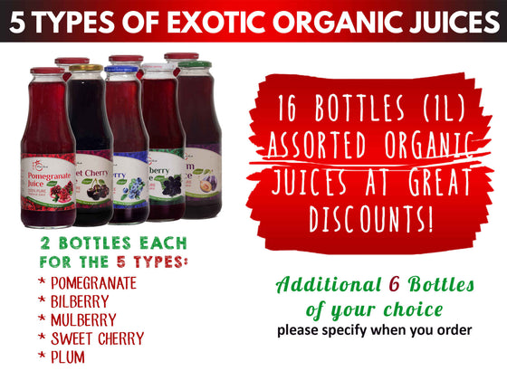 石榴及其他4種有機果汁共16瓶(1升裝)16 Bottles of Organic Pomegranate and 4 Other Types Assorted