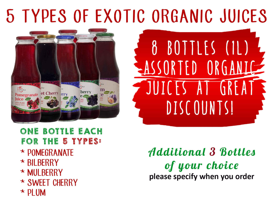 石榴及其他4種有機果汁共8瓶(1升裝)8 Bottles of Organic Pomegranate and 4 Other Types Assorted