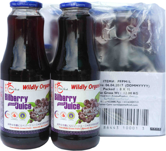 有機越橘汁8瓶(1升裝) PomeFresh 100% Organic Bilberry Juice 1 Carton (1L X 8)